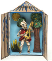 This Skeleton Retablo is beautifully crafted by inside a match box.