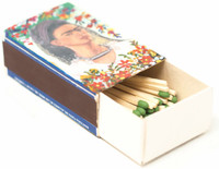 Hand crafted matchbox two sided with a pictures of Frida Kahlo,  Folk 57