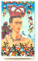 Hand crafted matchbox two sided with a pictures of Frida Kahlo,  Folk 56