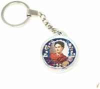 "Frida Kahlo, Key Chain, Pewter with Dried Flowers,  1.5"" x 1.5"" Folk Art"