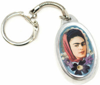 "Frida Kahlo, Key Chain, Pewter with Dried Flowers,  2"" x 1"" Folk Art"