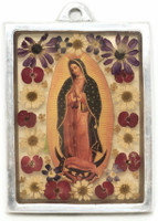 "The Virgin, Our Lady of Guadalupe, Plaque with real dried Flowers encased in Resin with a Pewter Frame 3"" x 4"" x .5"" Folk Art"