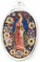 """The Virgin, Our Lady of Guadalupe, Plaque with real dried Flowers encased in Resin with a Pewter Frame 3"""" x 4"""" x .5"""" Folk Art 110"""