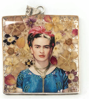 Frida Pendant, Real dried Flowers encased in Resin with a Pewter Frame