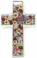 "Cross with Real Dried Flowers encased in Resin with a Pewter Frame 4"" x 6.5"" x .5"" Folk Art"