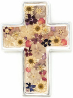 "Cross with Real Dried Flowers encased in Resin with a Pewter Frame 3.25"" x 4.25"" x .5"" Folk Art"