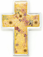 """Cross with Real Dried Flowers encased in Resin with a Pewter Frame 3.25"""" x 4.25"""" x .5"""" Folk Art"""