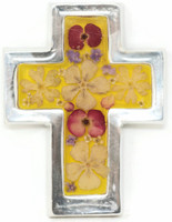 """Cross with Real Dried Flowers encased in Resin with a Pewter Frame 2.75"""" x 3.5"""" x .5"""" Folk Art 132"""