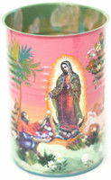 Hand Painted Up-cycled Tin Can Pencil Holder with Our Lady of Guadalupe and Juan Diego one of a kind art