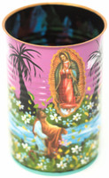 "Hand Painted Up-cycled Tin Can Pencil Holder Virgin, Our Lady of Guadalupe and Juan Diego of a kind art 3"" x 4"""