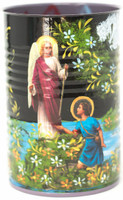 """Hand Painted Up-cycled Tin Can Pencil Holder Shepherd and Arch Angel, One of a kind art 3"""" x 4""""  Folk Art"""