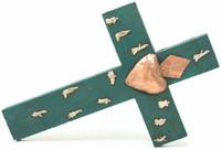 "Mexican Milagro Cross, Wall Decor, Green with Tin Heart in Center, Traditional, Religious, Folk Art, Miracles Prayers 15"" x 10"" Folk Art 168"