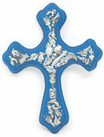 Bright Blue Cross with Milagros