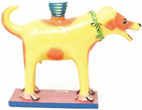 Yellow Dog Candle Holder Hand Made One of a Kind Folk Art Mexico