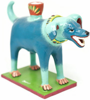 Happy Brightly Painted Dog Candle Holder, Functional Folk Art
