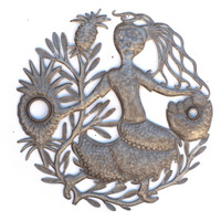 Pineapple, Vendor, Gardener, Flowers, Floral Art, Sustainable, Eco-Friendly, Limited Edition, Dancing, Farmer's Market, Haiti, Haitian, Art, Metal, Steel, Oil Barrels