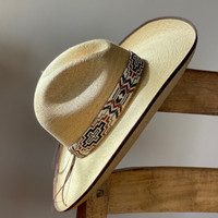 Beaded Hat Band, 1 Inch Wide Hatband, Hat Accessory, Leather Ties, Mayan Design, Handmade in Guatemala, Hatband 35