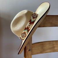 Beaded Western Style Hat Band, 1 Inch Wide Hatband, Hat Accessory, Leather Ties, Mayan Design, Handmade in Guatemala, Hatband 41