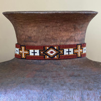 Beaded Western Style Hat Band, 1 Inch Wide Hatband, Hat Accessory, Leather Ties, Mayan Design, Handmade in Guatemala, Hatband 37