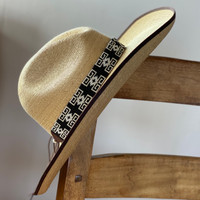 Beaded Western Style Hat Band, 1 Inch Wide Hatband, Hat Accessory, Leather Ties, Mayan Design, Handmade in Guatemala, Hatband 40