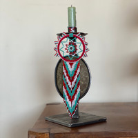 Dream Catcher, Mayan Designs, Turquoise, Red and White Dream 04