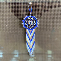Dream Catcher, Mayan Designs, Blue Gold and White