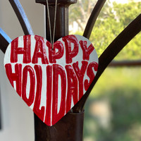 hristmas Ornaments, Happy Holidays, Decorative Hand Painted Heart Shaped Ornament, Haitian Artwork 4.25 x 4.5 Inches