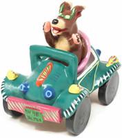 "Gerardo Ortega - Mexican Folk Art Labrador Retriever in a Green Car 6.5"" x 6.75"" x 5"" By Folk Artist Gerardo Ortega"