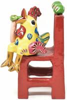 """Gerardo Ortega - Mexican Folk Art, Rooster on Chair Drinking a Beer, 9"""" x 3.5"""" x 4"""" Ortega 40"""