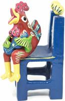 """Gerardo Ortega - Mexican Folk Art, Rooster on Chair Playing a Guitar, 9"""" x 3.5"""" x 4"""" Ortega 43"""