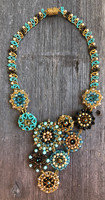 Statement Necklace, Flower Designs, Multi Color Sparkly Beads, Handmade Women's Jewelry, Gift for Her, Elegant, Dressy 13 Inches Drop