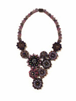 Statement Necklace, Flower Designs, Purple, Blue, and Gray Multi Color Sparkly Beads, Handmade Women's Jewelry, Gift for Her, Elegant, Dressy 13 Inches Drop