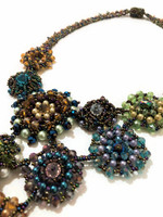 Statement Necklace, Flower Designs, Blue and Green Multi Color Sparkly Beads, Handmade Women's Jewelry, Gift for Her, Elegant, Dressy 13 Inches Drop
