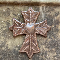 "Metal Wall Art, Milagro Sacred Cross, Take Your Worry Away, Ornamental, Gift tag, Handmade in Haiti 3.75"" x 4.5"""
