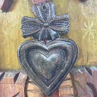 "Metal Wall Art, Milagro Sacred Heart, Take Your Worry Away, Ornamental, Gift tag, Handmade in Haiti  2.25"" x 4"" (SM446-Indiv-H)"