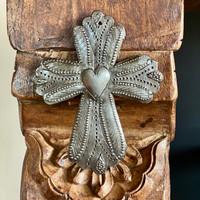 "Metal Wall Art, Milagro Sacred Cross, Take Your Worry Away, Ornamental, Gift tag, Handmade in Haiti 3.5"" x 4.5"" (SM446-Indiv-J)"