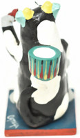 """Beer Drinking Cow Candle Holder, One of a Kind, Handmade in Mexico, Ortega Family, 5.5"""" x 3"""" (Ortega 67)"""