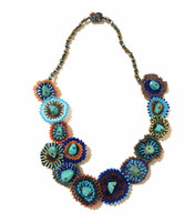 Statement Necklace Multi Color Sparkly Beads Turquoise Natural Stones, Gift for Her, Women Jewelry