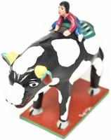 "Cow Piggy Bank, One of a Kind, Handmade in Mexico, Ortega Family, 9"" x 8.5"" x 3"" (Ortega 85)"