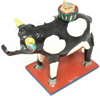 """Piggy Bank Cow WIth a Basket of Fish, One of a Kind, Handmade in Mexico, Ortega Family, 9"""" x 7"""" x 4"""" (Ortega 88)"""