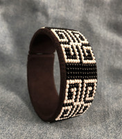 New Beaded Cuff, Black and White Bracelet, Handmade, Sparkly Beads, Western Jewelry, Casual Wear, Fits All
