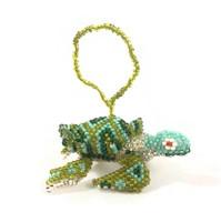 "Sea Turtle Hand Beaded Ornament made in Guatemala Hanging Figurine 2.5"""