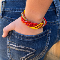 Handmade Bracelet for Girls, Multicolored Red and Yellow Tones, Glass Beads, Magnetic Closure, Stylish Guatemala 7 inches