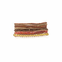 Bracelet Made with Seed Beads, Multi Strand, Copper Multi color Beads, Magnetic Clasp 1 x 7.25 Inches