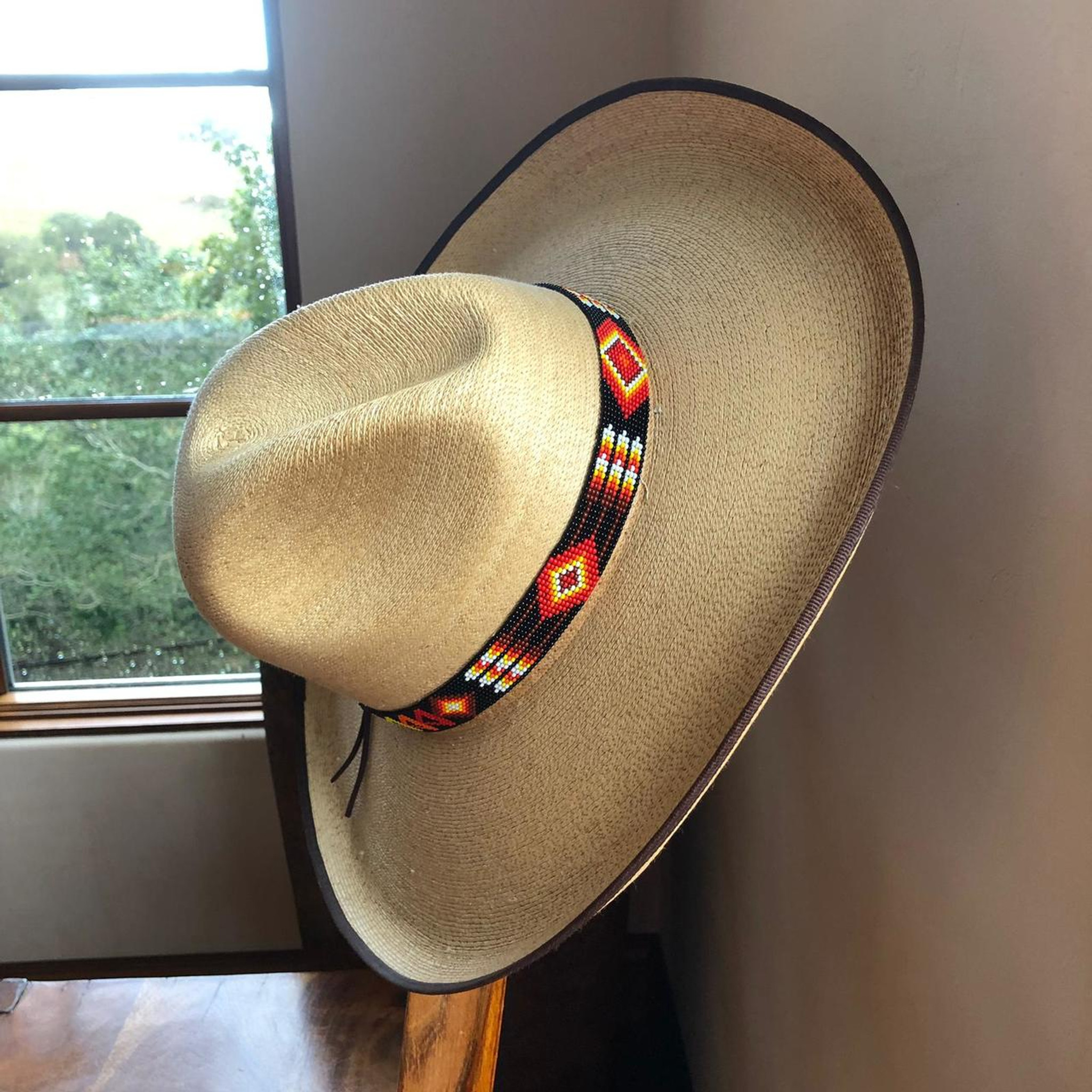 Hat Band, Hatband, Cowboy, Western, Leather, Beaded, Aztec Style, Multi  Colors, Handmade in Guatemala 7/8