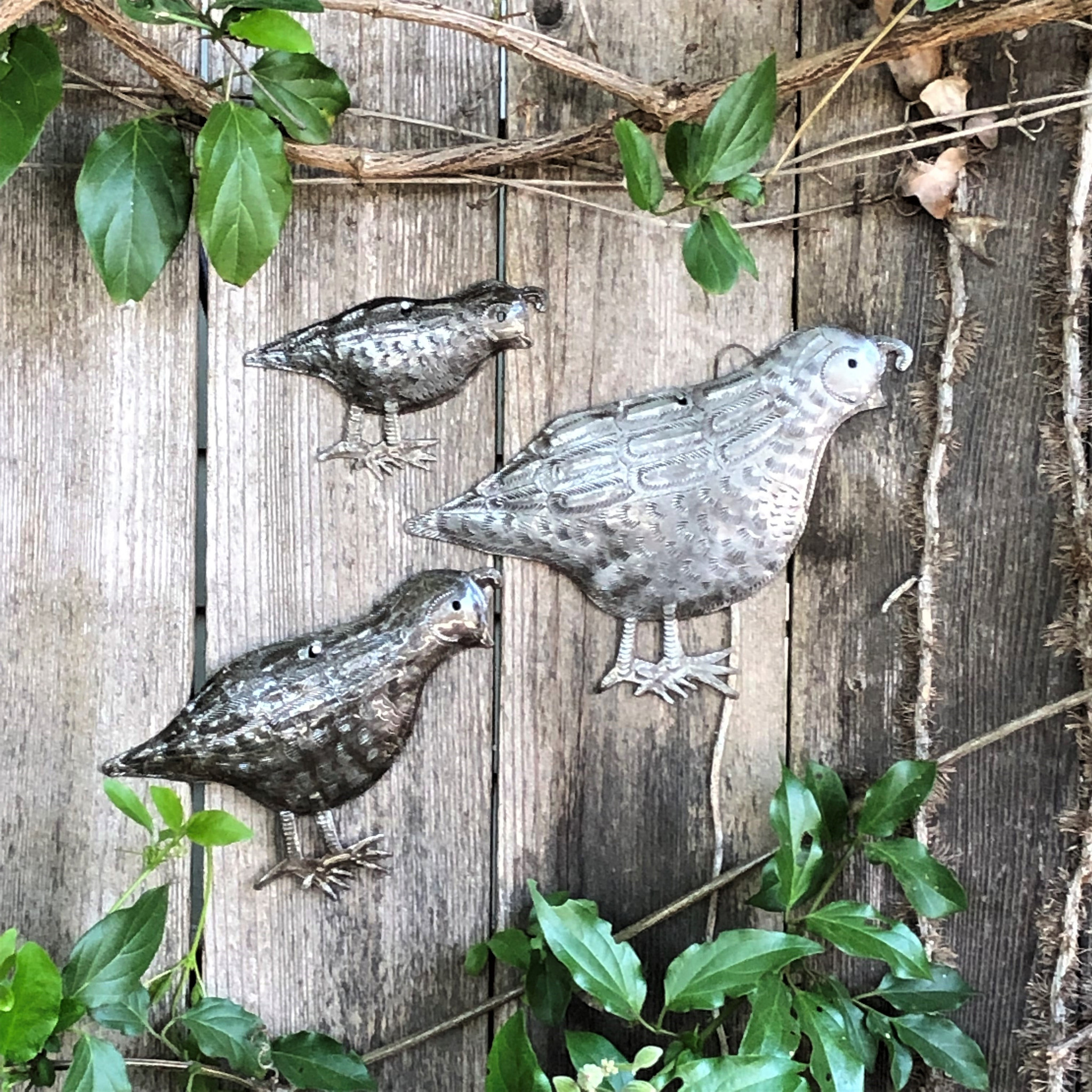 Metal Quail Covey Facing Right Handmade In Haiti Set Of 3 Garden Wall Art 10 5 X 7 8 X 6 And 5 5 X 4