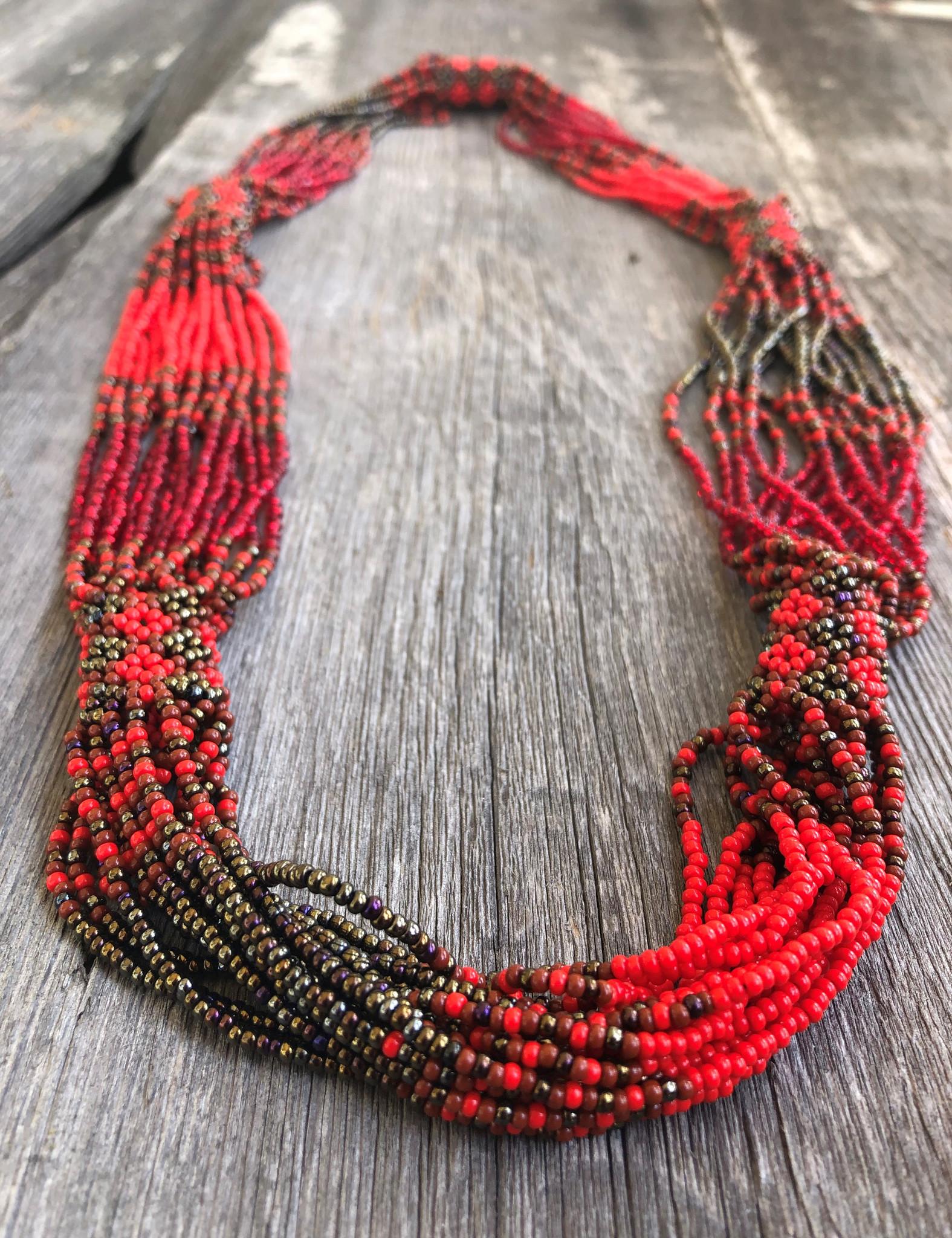 multi strand beaded necklace Gift Multi strand Necklace Beaded Jewelry Beadwork Seed Bead  Necklace