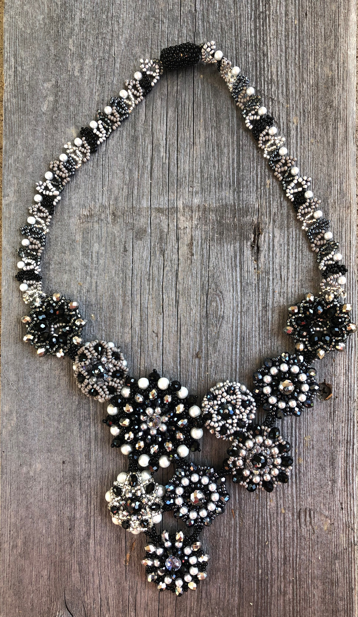Ladies beaded necklace black and white statement necklace