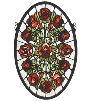 11''W X 17''H Oval Rose Garden Stained Glass Window (96 66005)