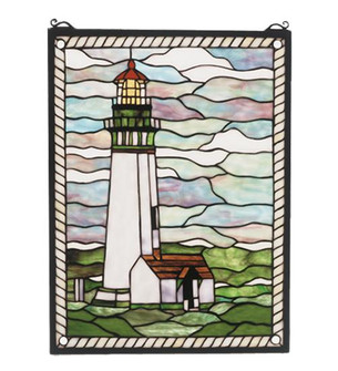 15''W X 20''H Yaquina Head Lighthouse Stained Glass Window (96 55949)